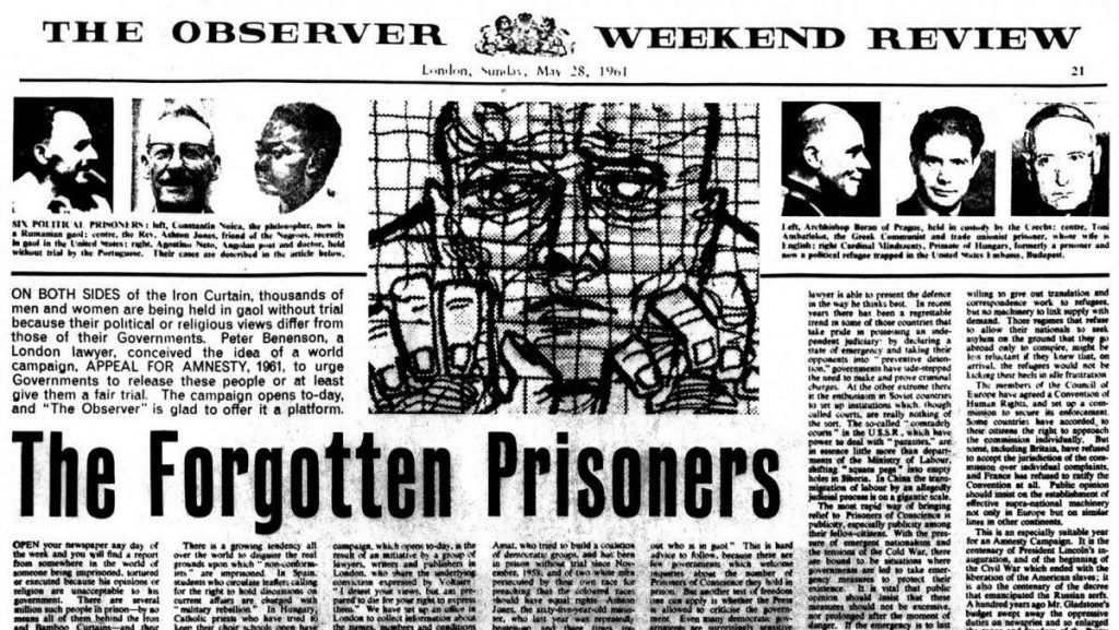 The forgotten prisoners article - the observer newspaper, 1961
